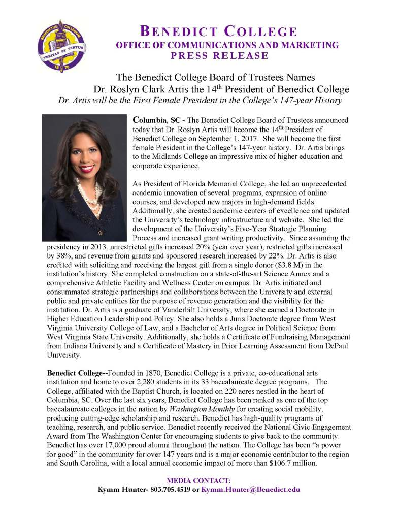 6.30.17- Dr. Roslyn Artis Named President of Benedict
