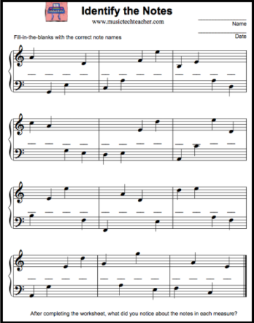 Worksheet on Melodic Dictation